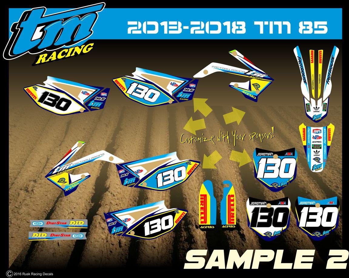 Rusk racing custom motocross graphics and decals thick stickers tm racing tm85 tm125 tm250 tm450