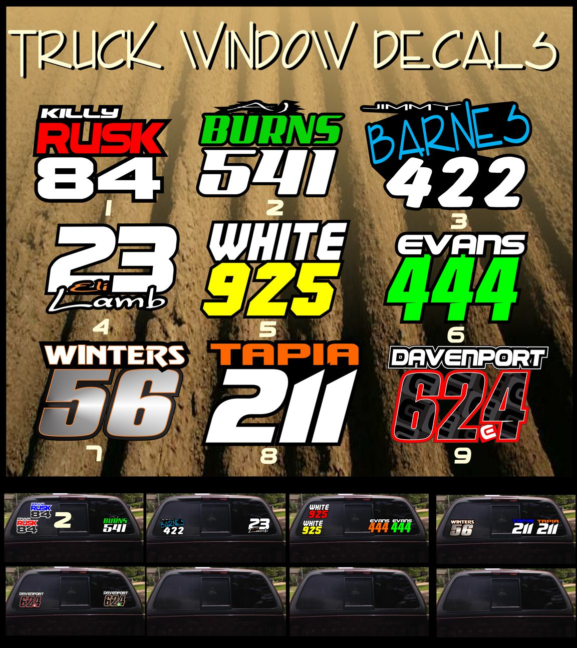 Truck window stickers 6x9 qty price 17 95 lettering color