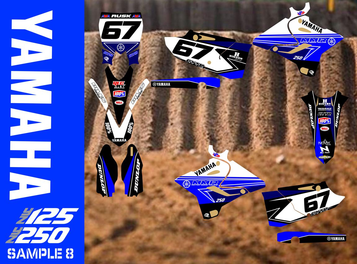 Yz125 Swingarm Airbox Number Plate Decals Stickers Yz 125 Graphics Dirtbike