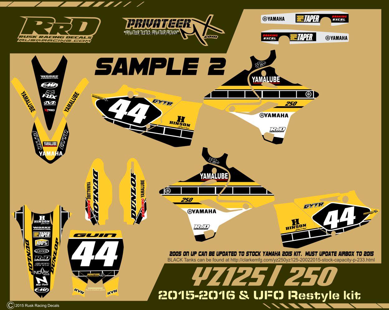 Yamaha bike sticker designs - Rusk Racing Custom Motocross Graphics And Decals Thick Stickers Yz125 Yz250 Yamaha Full Graphics Kit